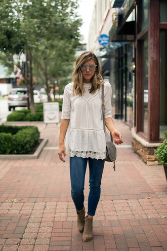 cella jane blogger jeans white blouse romantic lace blouse designer bag chloe bag grey bag leather bag
