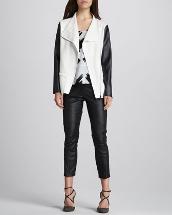 Robert Rodriguez Asymmetric Faux-Leather-Sleeve Jacket, Printed Silk Racerback Top & Cropped Leather Pants - Neiman Marcus
