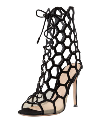 Gianvito Rossi Lace-Up Honeycomb Open-Toe Bootie, Black