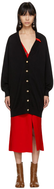 LOEWE cardigan cardigan leather black black leather sweater