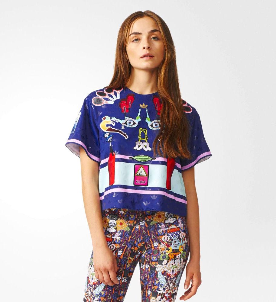 ADIDAS Originals Mary Katrantzou Structured Crop Tee T-Shirt Top XS S L