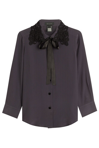 blouse silk grey top