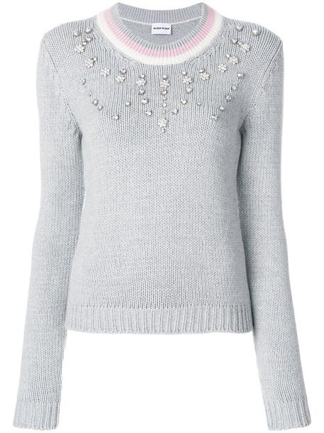 Au Jour Le Jour - embellished jumper - women - Acrylic/Wool - 40, Grey, Acrylic/Wool