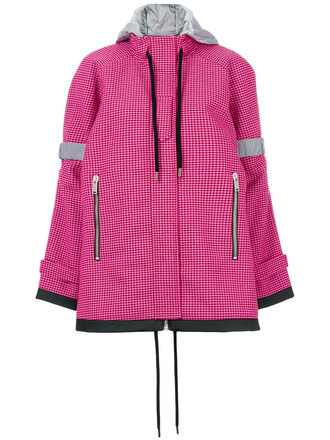 coat women cotton wool purple pink gingham
