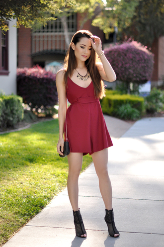 hapa time blogger romper date outfit burgundy peep toe