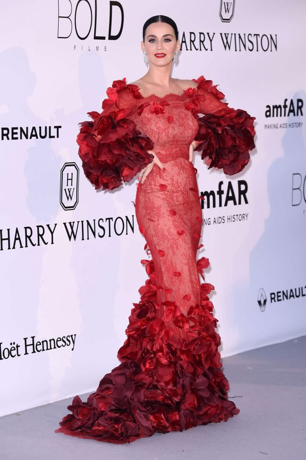 Dress: gown, prom dress, ruffle, red dress, red, katy perry ...