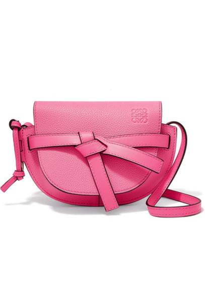 Loewe - Gate Mini Textured-leather Shoulder Bag - Bright pink