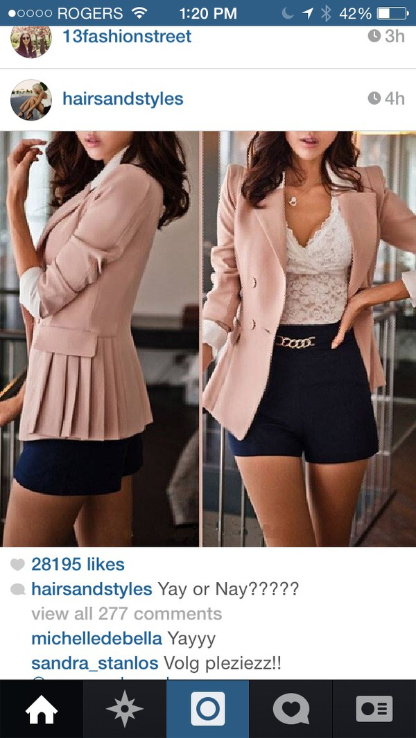 blouse jacket shorts