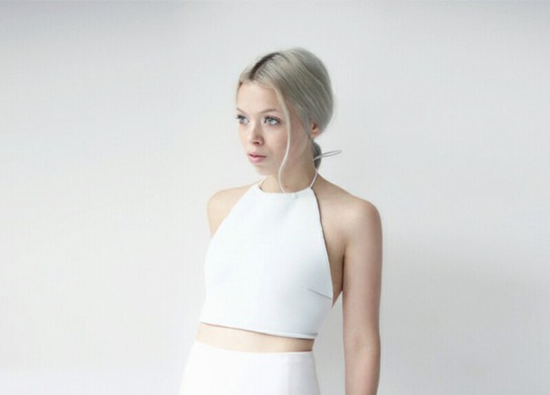top white top tank top t-shirt halter neck white crop tops off-white white crop tops t-shirt halter top halter neck top halterneck hair singlets leather leather top blouse love the shape any colour white