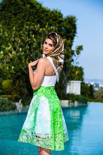 skirt shiva safai celebrity top white top green skirt lace skirt midi skirt scarf summer outfits