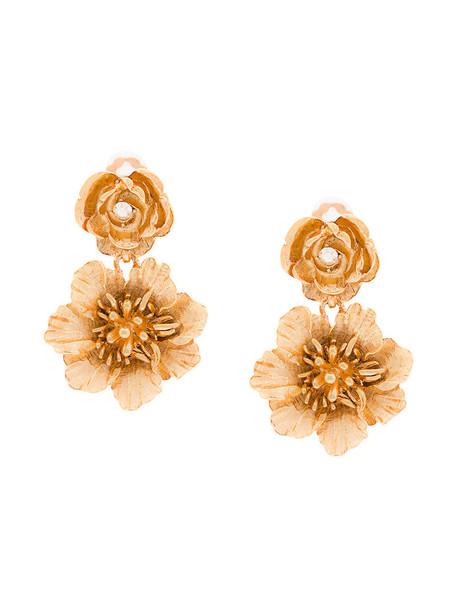 oscar de la renta women earrings floral grey metallic jewels