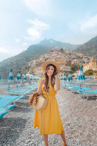 stephanie sterjovski - life + style blogger dress shoes bag scarf hat sunglasses straw bag yellow dress spring outfits
