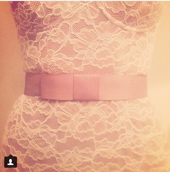 pale pink belt white lace dress white dress blush pink pink belt