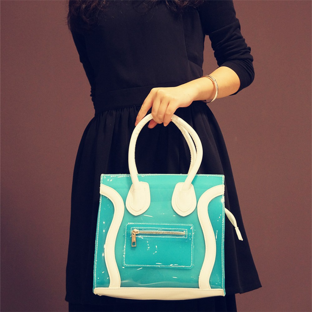 Blue jelly candy tote with white handle