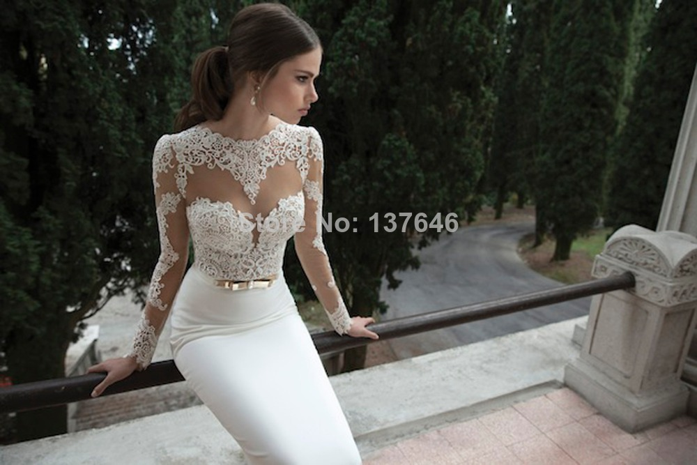 Aliexpress Buy 2014 Sheer Vintage Lace Appliqued Jewel Neck Long Sleeves Backless Sheath Sweep Train White Berta Bridal Gowns Wedding Dresse From