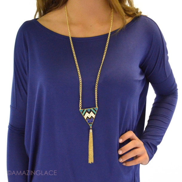 jewels triangle pendant necklace chevron necklace tassel gold chain spring outfits