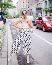 top,tube top,tank top,wide-leg pants,cropped pants,black and white,earrings,high heels boots