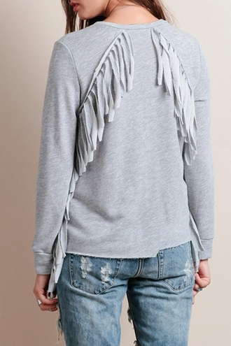 sweater grey casual fringes long sleeves fall outfits style fashion winter sweater