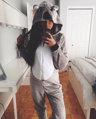 romper koala bear grey grey romper black grey jumpsuit animal jumpsuit grey sweater grey dress black dress animal print