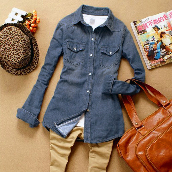 Vintage Women Girl Casual Retro Long Sleeve Blue Jean Denim Washed Shirt Top Blouse Free Shipping-in Denim Clothings from Apparel & Accessories on Aliexpress.com