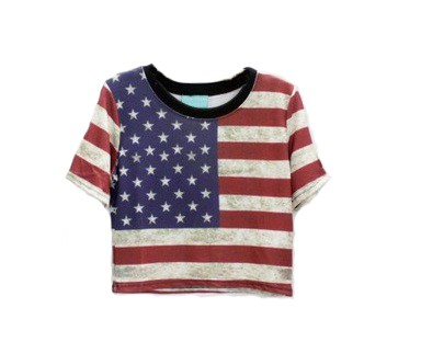 t shirt swag femme mini crop top drapeau americain usa. Black Bedroom Furniture Sets. Home Design Ideas