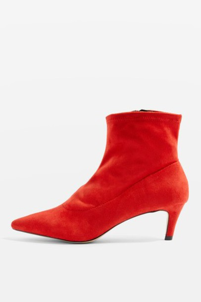 Topshop heel sock boots red shoes