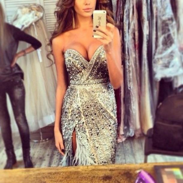 dress silver dress sparkly dress