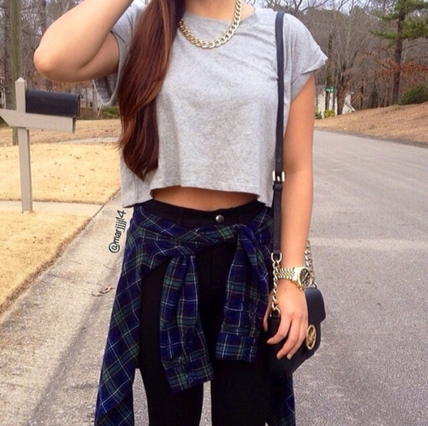 shirt plaid shirt crop tops high waisted jeans jeans bag blouse