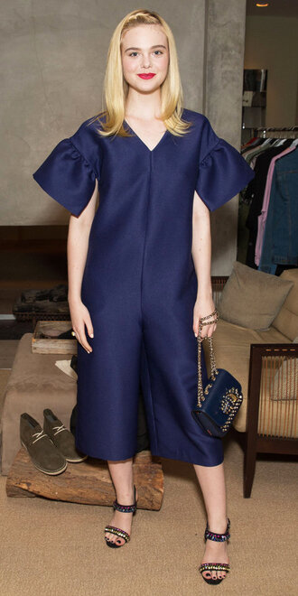 jumpsuit navy elle fanning pants one piece