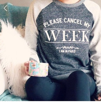 sweater lazy day grey sweater hipster paris funny sweater