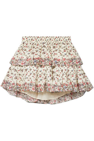 skirt mini skirt mini floral cotton print cream