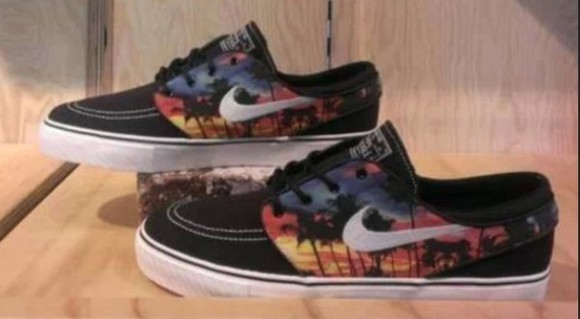 shoes orange black nike sb stefan janoski palm trees skateboarding