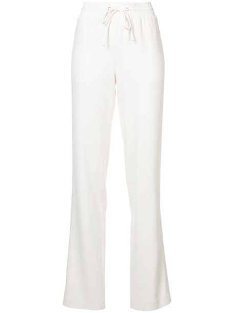 Sally LaPointe pants track pants women spandex drawstring white