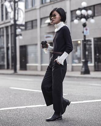 pants tumblr black pants wide-leg pants sweater black sweater turtleneck turtleneck sweater boots flat boots ankle boots sunglasses coffee fall outfits von vogue blogger belt shoes