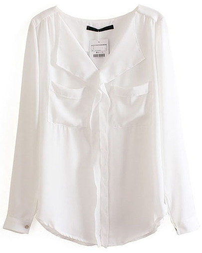 White Long Sleeve Pockets Chiffon Blouse - Sheinside.com