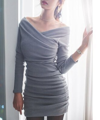 dress fashion style grey off the shoulder cool long sleeves trendy sweater dress cute bodycon dress rose wholesale wrap dress vintage beautiful stylish