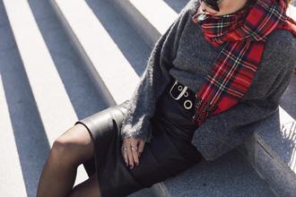 sweater tumblr grey sweater scarf tartan tartan scarf flannel scarf flannel skirt black skirt midi skirt black leather skirt leather skirt tights waist belt belt