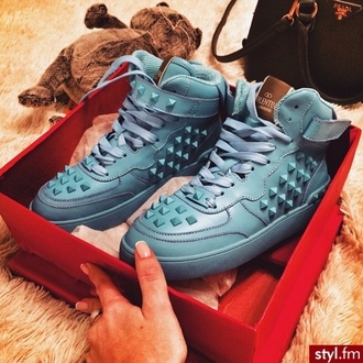 shoes hightops fashion spikes blue pastel