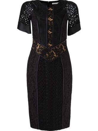 dress patchwork lace black