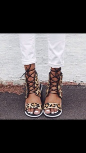 shoes,print shoe laces sandals cheetah