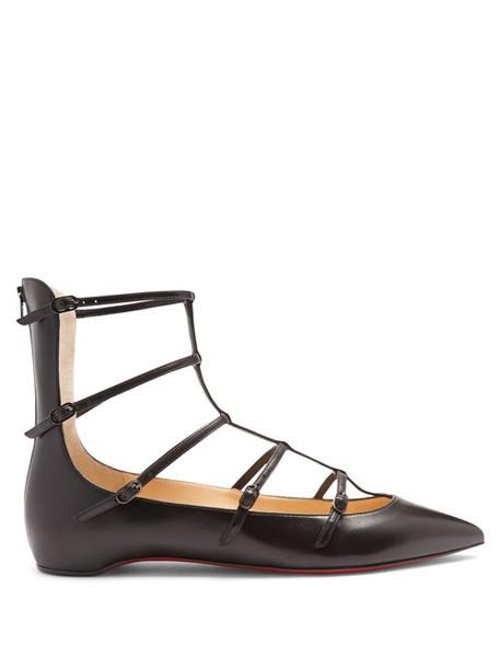 Christian Louboutin - Toerless Muse Leather Flats - Womens - Black