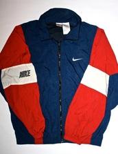 jacket,coat,nike,red,white,blue,america,windbreaker,retro