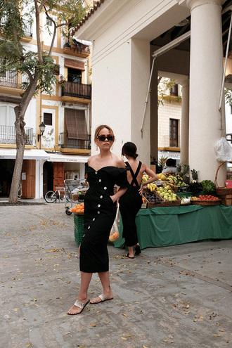 dress black dress little black dress sandals off the shoulder off the shoulder dress sunglasses