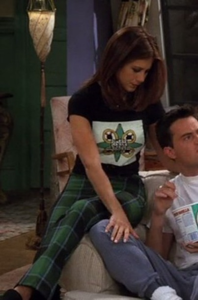 pants green rachel green jennifer aniston friends tartan tartan trousers