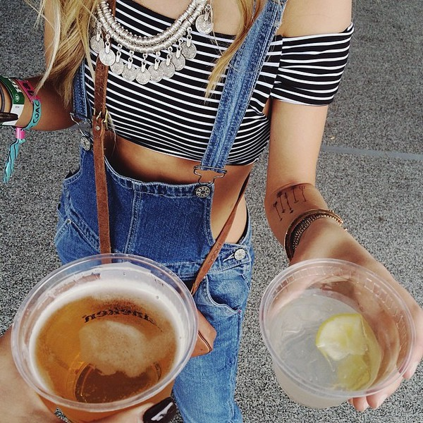 off the shoulder stripes jewels romper jeans shirt top dungarees weheartit instagram tumblr tumblr outfit girl summer crop tops denim jewelry tattoo temporary tattoo hippie gypsy indie statement necklace blonde hair boots cowgirl boots leather bag