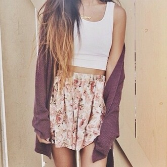 tank top crop tops floral sweater skirt vintage cardigan gilet jupe burgundy violet fleurie blanco
