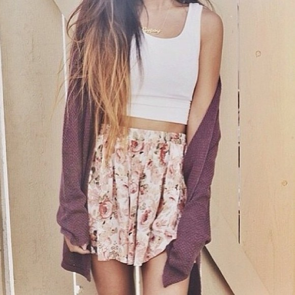cardigan gilet vintage jupe bordeaux violet fleurie blanco sweater skirt floral tank top crop tops