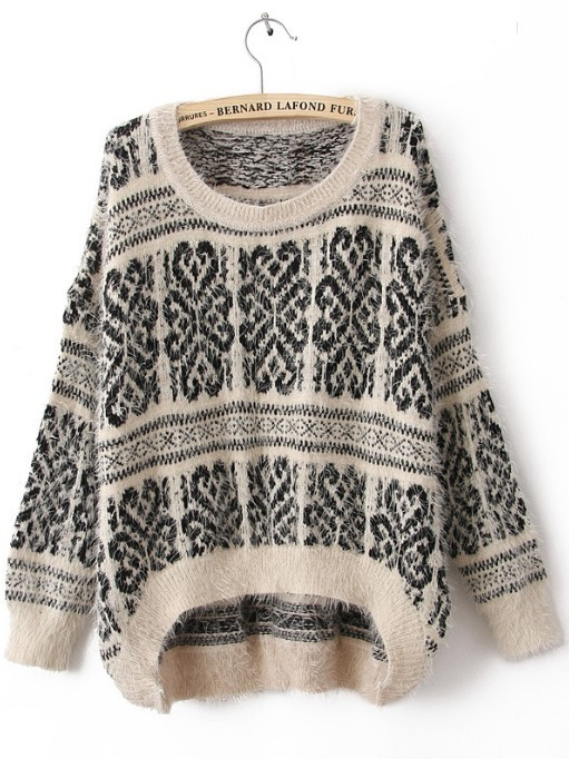White Long Sleeve Tribal Print Mohair Sweater - Sheinside.com