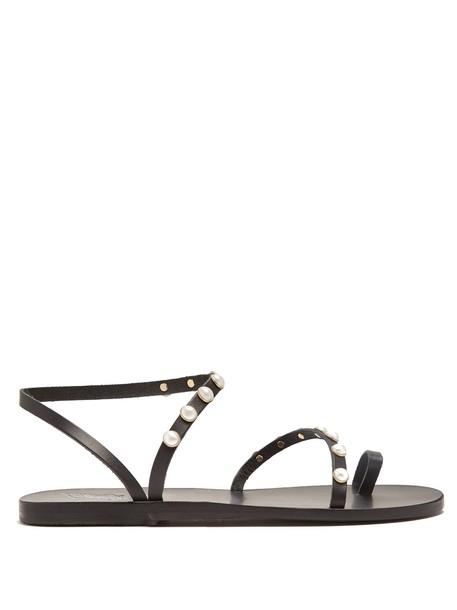 Ancient Greek Sandals embellished sandals leather sandals leather black shoes
