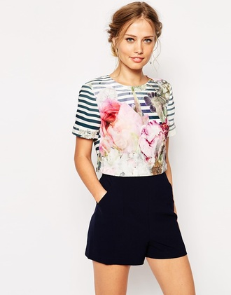 blouse romper striped blouse blue white navy navy blue shorts floral t shirt floral blouse stripes floral striped shirt jumpsuit floral playsuit